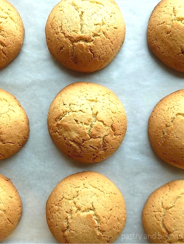 Baked Cakey Vanilla Cookies on a parchment paper.