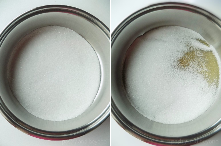 Sugar in a big pan in the first picture, sugar that starts to melt in the second picture.