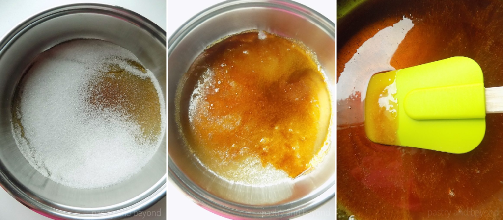 Process of melting picture in a big pan.