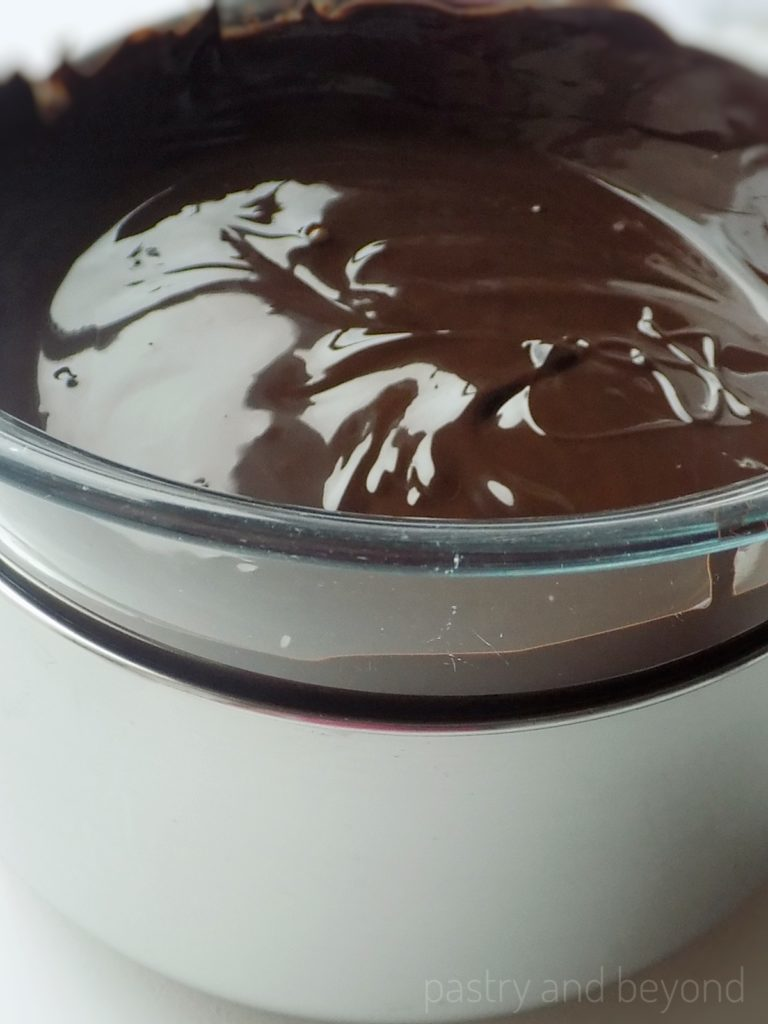 Melted chocolate over bain-marie
