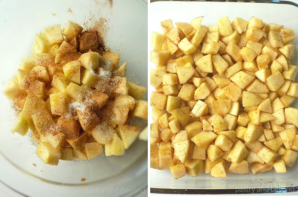 Steps of Making Apple Crumble: Placing the cube apples into a medium bowl and tossing with sugar, cinnamon, lemon zest and lemon juice. Lining the mixture evenly into the oven-proof dish.