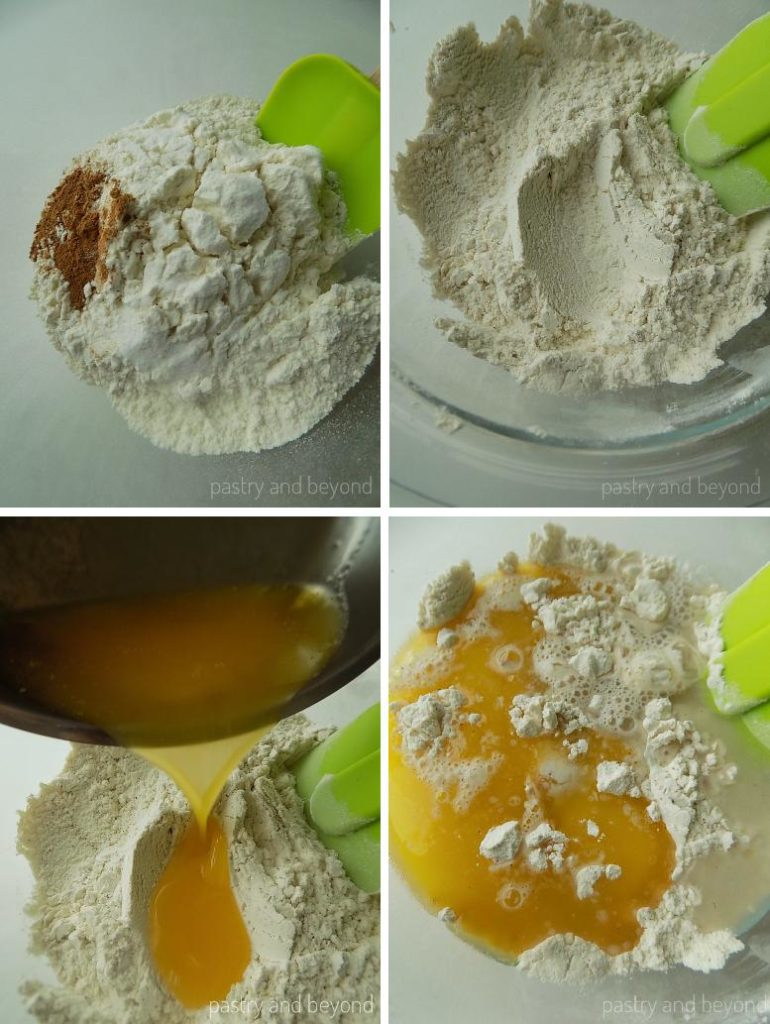 Steps of Making Cinnamon Sugar Crackers: Mixing flour, salt, sugar and cinnamon. Adding melted butter and mixing until totally combined with a spatula.