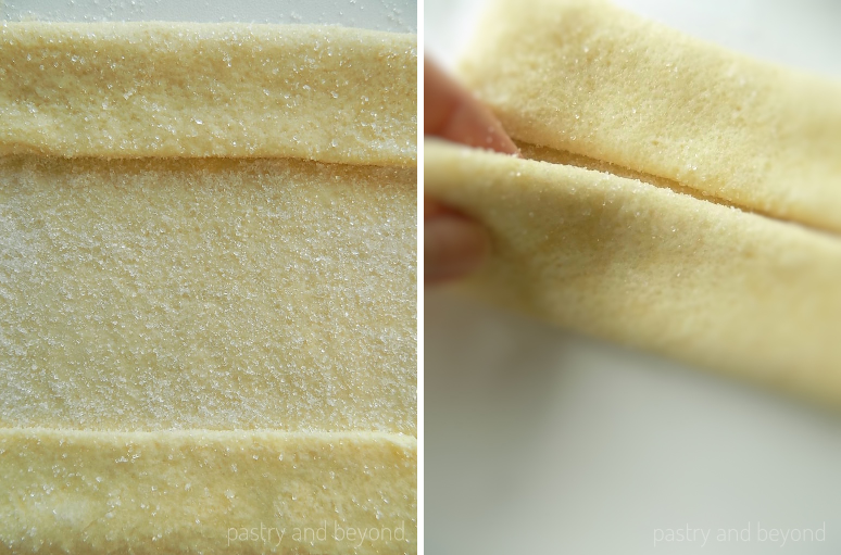 Steps of Making Palmiers Recipe with Quick Puff Pastry: Folding the dough from 2 sides.