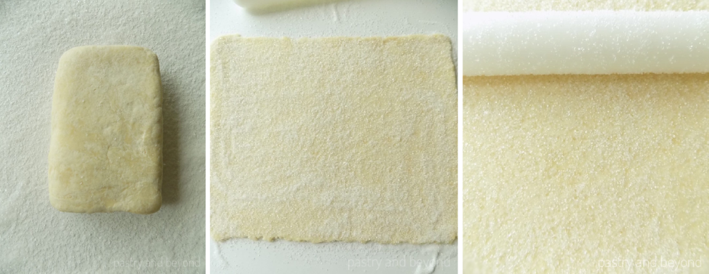 Steps of Making Palmiers Pastry with Quick Puff Pastry: Quick puff pastry in the first picture, rolled out dough with sugar sprinkled on top in the second picture, rolling pin over the dough in the third picture.