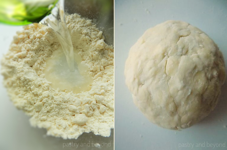 Steps of Making Quick Puff Pastry: Adding water into the flour mixture in the first picture. Forming a ball out of the dough in the second picture.