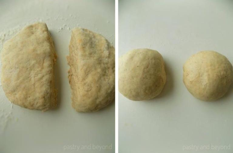 Steps of Making Cinnamon Sugar Crackers: Dividing the dough and making balls out of the dough.