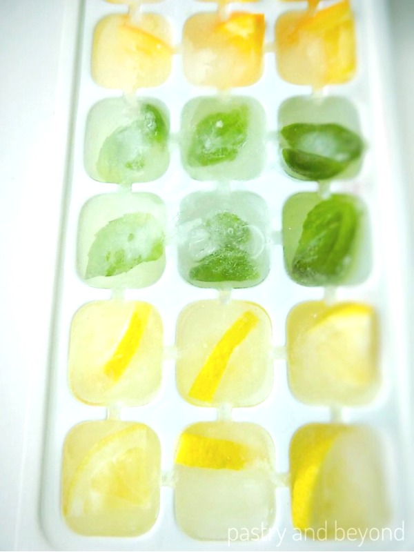 Lemon-Orange-Basil Leaves Flavored Ice Cubes