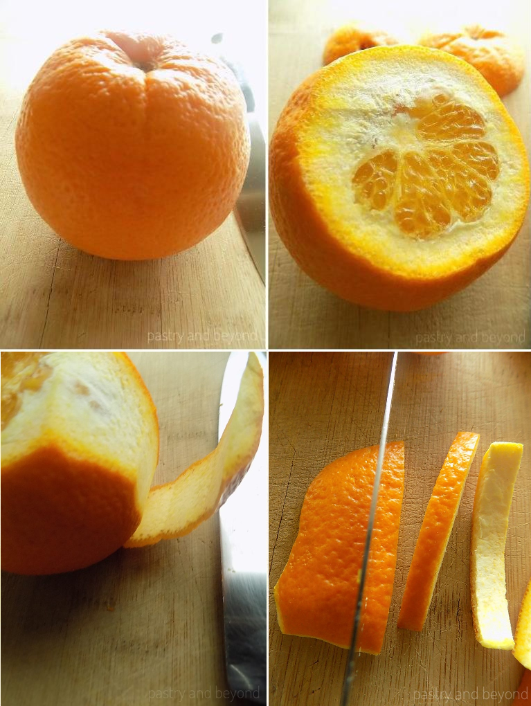 Steps of cutting the orange peel into strips to make candied orange peels.