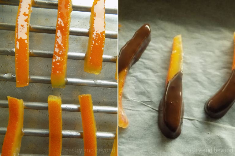 Placing the candied orange peels on a wire rack to cool and dipping into melted chocolate.