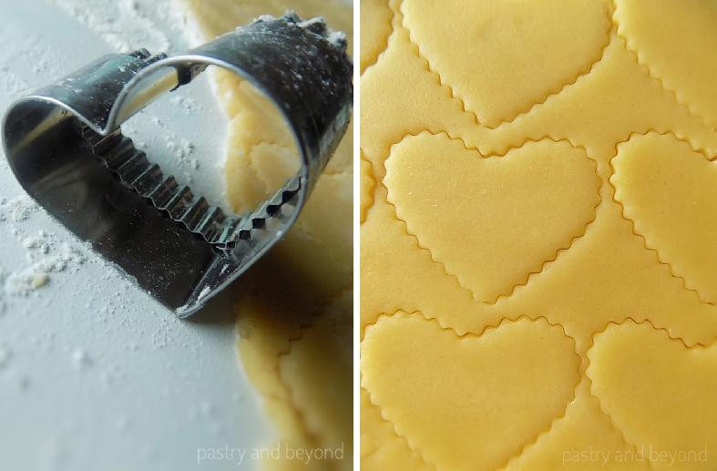 Steps of Making Heart Shaped Sunflower Seed Cookies: Rolling out the dough and cutting out with a heart shaped cookie cutter