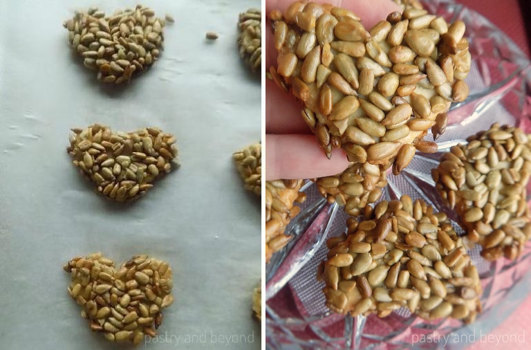 Sunflower Seed Cookies before and after baking