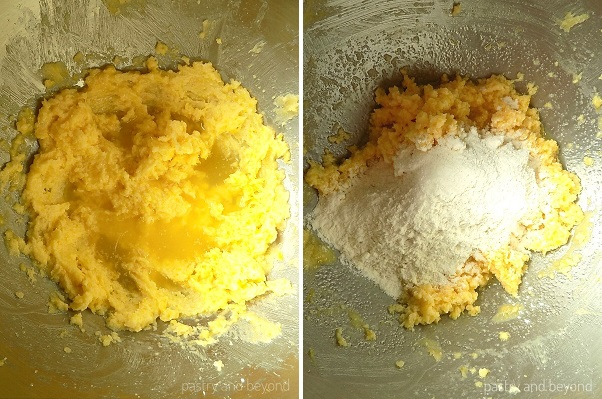 Lemon juice is added into the mixture in the first picture, flour is added in the second picture.