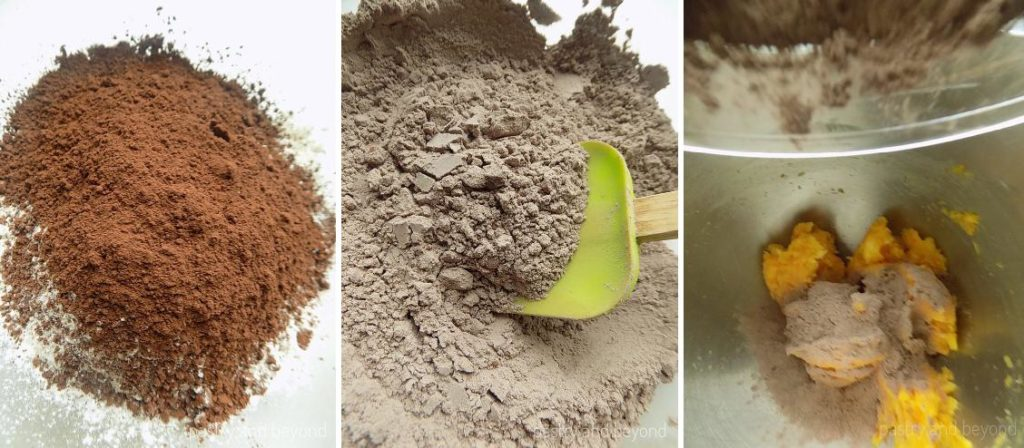 Cocoa and flour in a mixing bowl in the first photo, mixing cocoa and flour with a green spatula in the second photo, adding the mixture into creamed butter and sugar in the third photo.