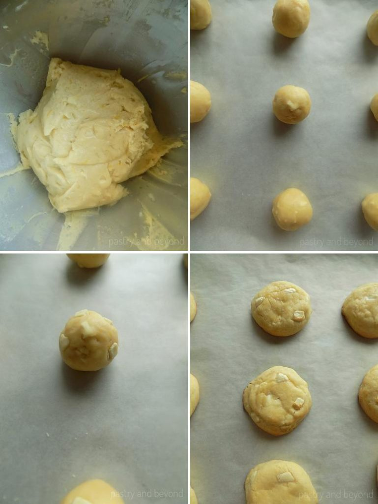 Making balls out of the dough, adding more chocolate on top and baking.