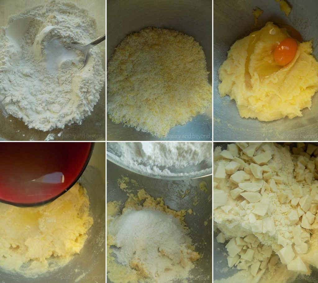Combining flour, cornstarch, baking soda in a mixing bowl. Mixing sugar and lemon zest in a bowl, adding in the egg, lemon juice, flour mixture and white chocolate.
