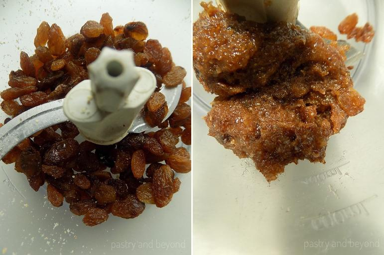 Steps of Making Chocolate Balls: Pulsing the raisins until they form a paste.