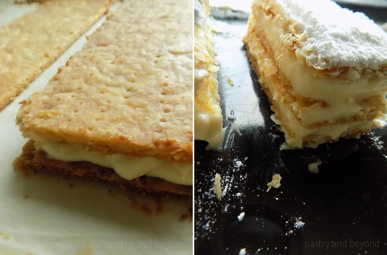 Placing the pastry cream over the first and second layers. Sifting powdered sugar over the third layer.