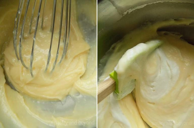 Whisking pastry cream and folding whipped cream into pastry cream.