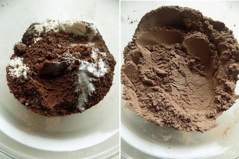 Mixing flour, cocoa powder and baking soda in a bowl.