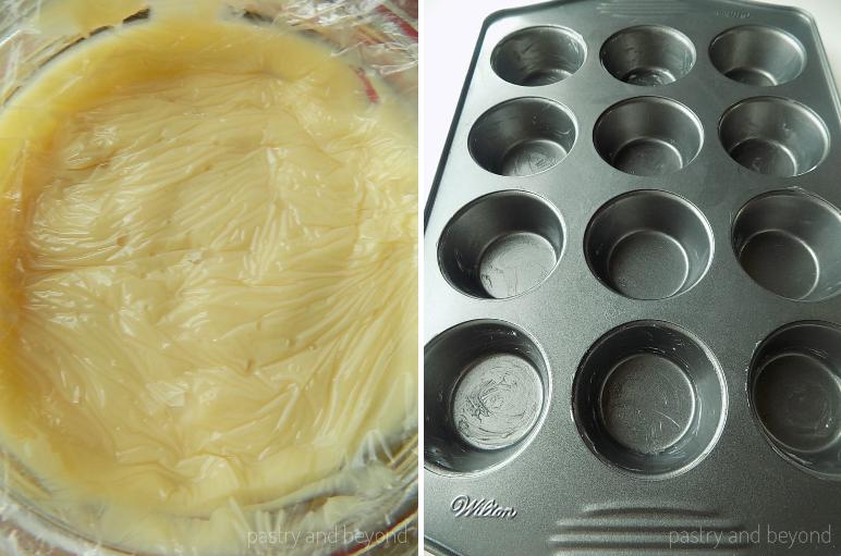 Pastry cream covered with plastic film in the first photo and greased cupcake pan in the second photo.