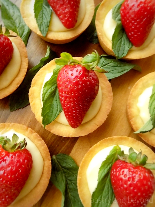 Strawberry & Mint Cookie Cups with Pastry Cream