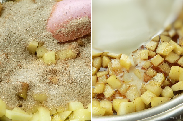 Step by step pictures of making caramelized apples: Sugar-cinnamon-nutmeg mixture is added to the sauteed apples and when sugar is caramelized cornstarch is added.