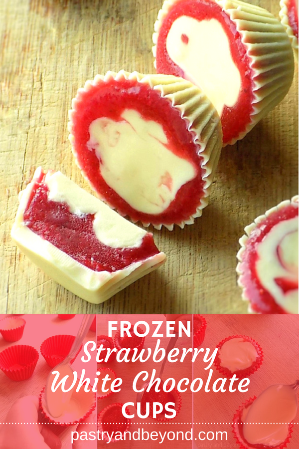 Frozen Strawberry and White Chocolate Cups