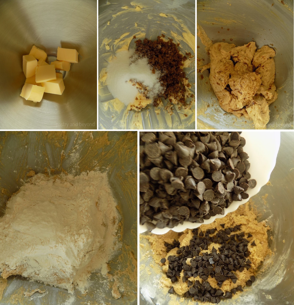 Steps of Making Cookie Cup Dough: Creaming the butter and sugar, adding the egg, vanilla, flour and chocolate chips.