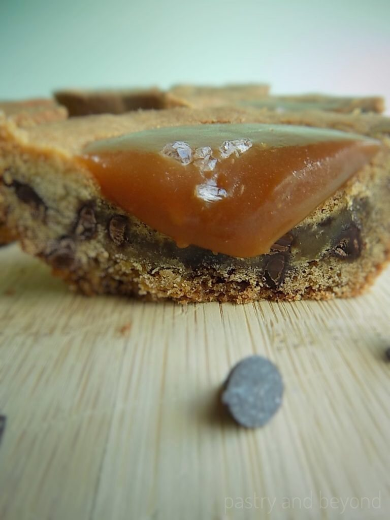 Chocolate Chip Cookie Cup with Salted Caramel cut in half.