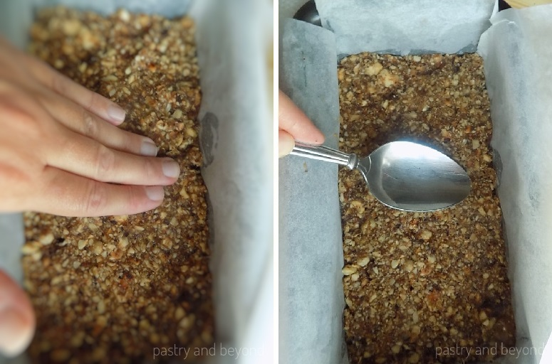 Spreading hazelnut-date mixture into a pan.