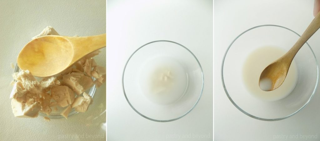 Crumbling the yeast and dissolving with water.