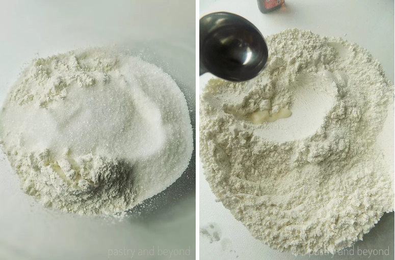 Mixing sugar, flour and almond extract in a bowl.
