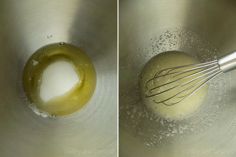 Steps of Making Swiss Meringue Recipe: Mixing sugar and egg whites in a bowl.