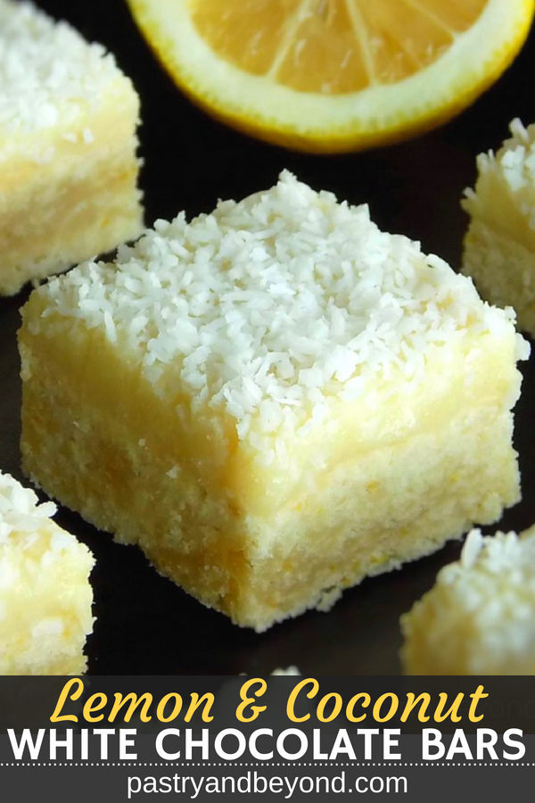 Lemon Coconut Bars with White Chocolate Ganache