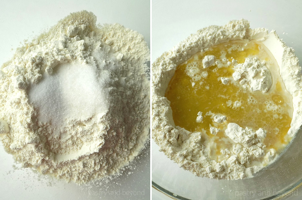 Flour, salt and sugar in a bowl in the first photo. Olive oil and water is added to the mixture in the second photo.
