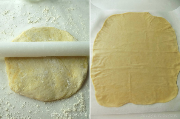 Dough with a rolling pin on top in the first photo, rolled out dough in the second photo.