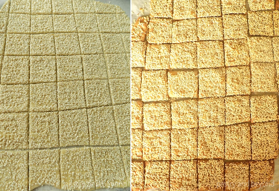 Sesame crackers before baking in the first photo, sesame crackers after baking in the second photo.
