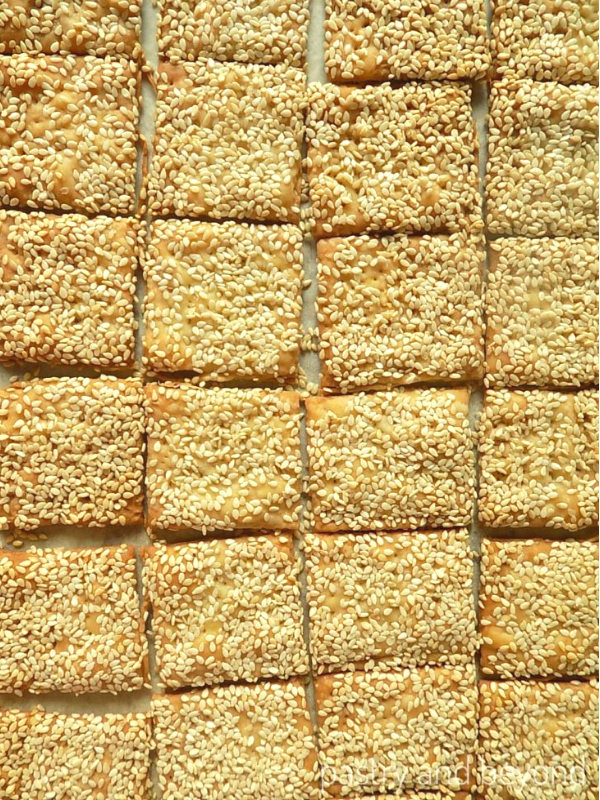 Sesame Crackers next to each other.