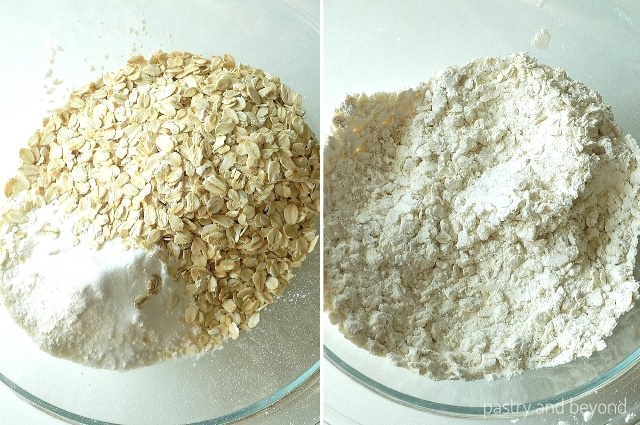 Steps of Making Chocolate Chip Oatmeal Bars: Oatmeal, flour, baking soda and cornstarch are mixed in a medium bowl.
