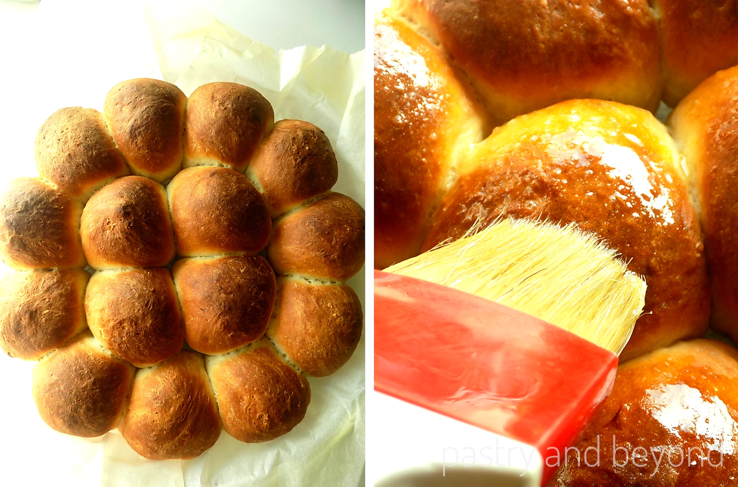 Baked Sweet dinner rolls are brushed with melted butter.