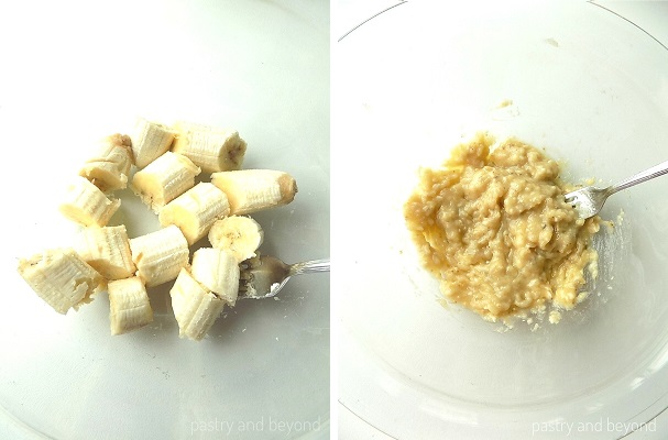 Sliced bananas in a mixing bowl to mash them with a fork to make a banana bread.