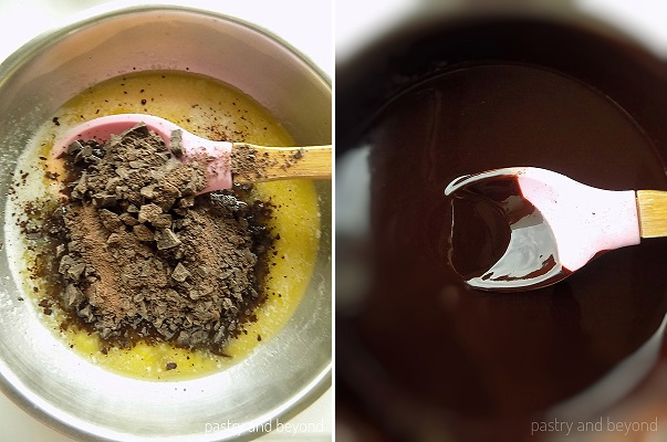 Step by Step Pictures of Brownie Batter: Chopped chocolate is added into the melted butter. Mixture of butter and chocolate in a pan with a pink spoon spatula