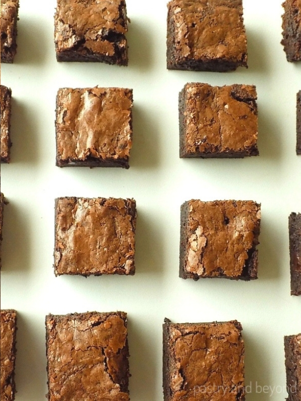 Brownies on a white surface